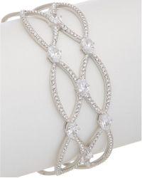 Nadri - Rhodium Plated Cz & Swarovski Crystal Bangle - Lyst