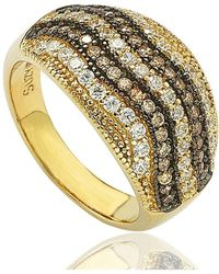 Suzy Levian - Cubic Zirconia Sterling Silver White Pave 3d Striped Ring - Lyst