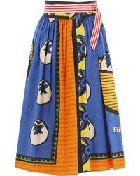 Stella Jean - Blue Wrap Over Gabardine Skirt - Lyst