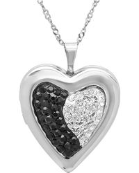Amanda Rose Collection - Sterling Silver Black And White Locket Pendant Made With Swarovski Crystals - Lyst
