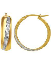 Jewelry Affairs - 14k 2 Tone Gold Round Tube Hoop Earrings, Diameter 20mm - Lyst