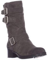 Marc Fisher | Arianna Mid Calf Lug Sole Motorcycle Boots - Gray | Lyst