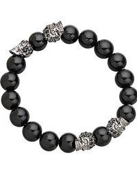 Eklexic - Men's Gunmetal Skull And Onyx Bead Bracelet - Lyst