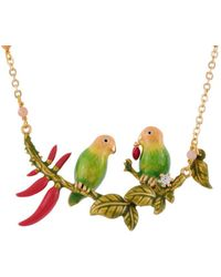 Les Nereides - Love Birds Couple On A Leafy Branch And Chilies Short Necklace - Lyst
