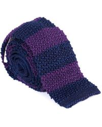 Brunello Cucinelli - Men's Wool Purple & Navy Striped Tie - Lyst