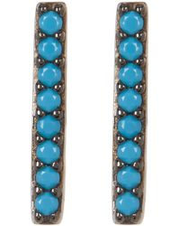 Adornia - Turquoise And Sterling Silver Mini Bar Studs - Lyst