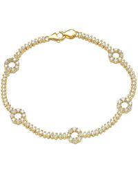 "Suzy Levian - Pave Cubic Zirconia Golden Sterling Silver 7.25"""""""" Floral Tennis Bracelet - Lyst"