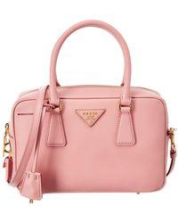 136a93edda27 Prada - Small Saffiano Leather Bowling Bag - Lyst