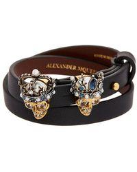 Alexander McQueen - Double Wrap Queen And King Skull Leather Bracelet - Lyst