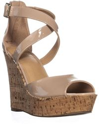 Material Girl - Mg35 Steffy Peep Toe Platform Wedge Sandals, Nude - Lyst