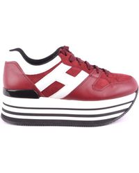 Hogan - Women's Red Leather Sneakers - Lyst