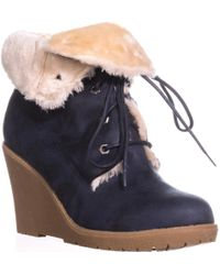 Mojo Moxy - Dolce By Fresco Wedge Ankle Boot Booties, Navy - Lyst