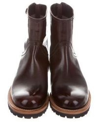 Brunello Cucinelli - Brown Leather Rubber Soles Ankle Boots - Lyst