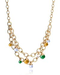 Rebecca - Hollywood Stone Yellow Gold Over Bronze Chains Necklace W/hidrothermal Stones - Lyst