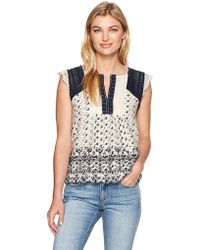Lucky Brand - Printed Embroidered Flutter Top - Lyst