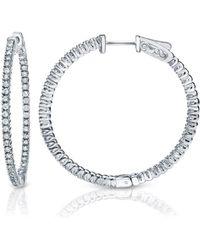 Suzy Levian - 14k White Gold 1.6ct Tdw Inside Out Diamond Hoop Earrings - Lyst