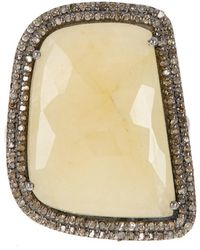Adornia - Yellow Sapphire And Champagne Diamond Gemma Ring - Lyst