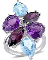 Julianna B - Amethyst-africa Blue Topaz - Sky Rhodolite-garnet Fashion Ring Silver - Lyst