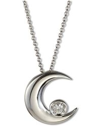 Charles & Colvard - Forever Classic Round 3mm Moissanite Moon Pendant Necklace - Lyst