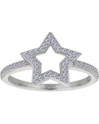 Jewelry Affairs - Sterling Silver Open Star With Cubic Zirconia Ring - Lyst