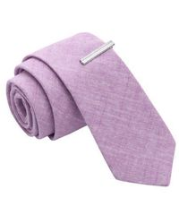 Skinny Tie Madness - Fantastic Sarcasm Solid Linen Skinny Tie With Tie Clip - Lyst