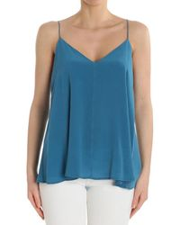 Ottod'Ame - Teal Blue Colored V-neck Top - Lyst