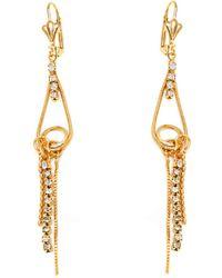 Peermont - Gold & Crystal Drop Earrings - Lyst