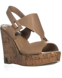 Guess - Hulda Wedge Peep Toe Sandals, Light Natural Leather - Lyst