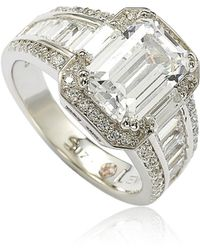 Suzy Levian - Sterling Silver White Emerald-cut Cubic Zirconia Engagement Ring - Lyst
