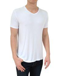 Stone Rose - Soft White V-neck Modal T-shirt - Lyst