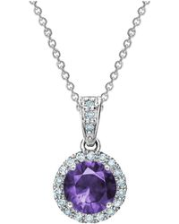 Tia Collections - 0.13ctw Diamond Halo Pendant With 6mm Amethyst - Lyst