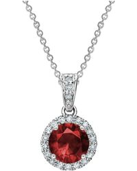 Tia Collections - 0.13ctw Diamond Halo Pendant With 6mm Ruby - Lyst