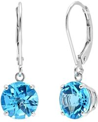 Amanda Rose Collection - 10k White Gold Checkerboard Swiss Blue Topaz Lever Back Earrings ( 3 3/4 ) - Lyst