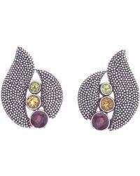 Jewelista | Oxidized Silver Citrine, Garnet & Peridot Earring | Lyst