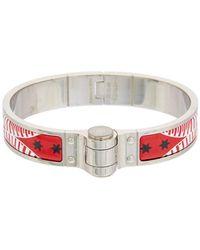 Hermès | Red Enamel Charniere Uni Narrow Bracelet | Lyst