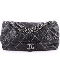 f22eadac94e6 Chanel - Pre Owned Double Stitch Flap Bag Quilted Glazed Calfskin Medium -  Lyst