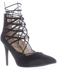 Material Girl - Mg35 Pronto Lace Up Pointed Toe Heels, Black - Lyst