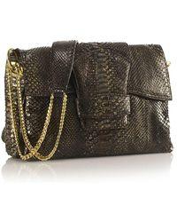 Nada Sawaya - Paola Shoulder Flap Bag Python Medievo Green - Lyst