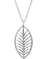 PANDORA - Silver Cz Palm Leaf 35in Necklace - Lyst