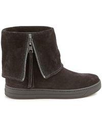 9b5c15439121 Lyst - Prada Black Suede Platform Ankle Boots in Black