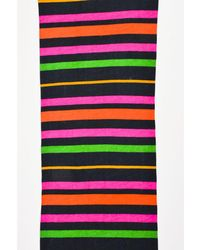 Marc By Marc Jacobs - 1 Black Pink Green Striped Cotton Scarf - Lyst