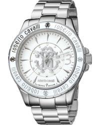 Roberto Cavalli - Women's White Dial Stainless Steel Watch - Lyst