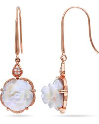 Catherine Malandrino | Cameo And Cz Rose Bud Earrings In Sterling Silver | Lyst