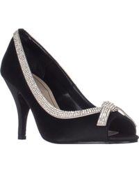 Caparros - Glow Peep-toe Evening Heels, Black Satin - Lyst