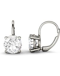 Charles & Colvard - Forever Brilliant 8.0mm Round Moissanite Drop Earrings, 3.80cttw Dew - Lyst