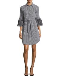 Calvin Klein - Embroidered Bell-sleeve Tied Shirtdress - Lyst