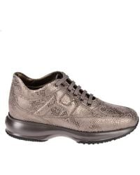 Hogan - Interactive Sneakers In Brown , Size 37 - Lyst
