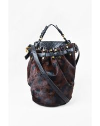 "Alexander Wang - 1 ""diego""black Brown Leather Leopard Pony Hair Studded Bucket Bag - Lyst"