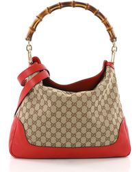 1a441c3bba094 Gucci - Pre Owned Diana Bamboo Shoulder Bag GG Canvas Medium - Lyst