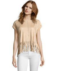Romeo and Juliet Couture - Suede Fringe Knit Top - Lyst